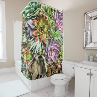 Chic Modern Colorful Succulent photo pattern Shower Curtain