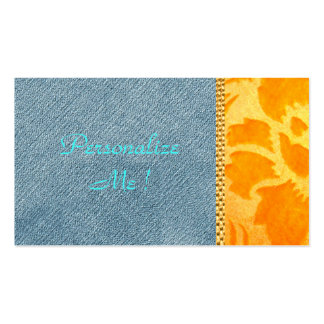 Chic Modern Denim Gold Damask Wedding Trendy Pack Of Standard Business Cards