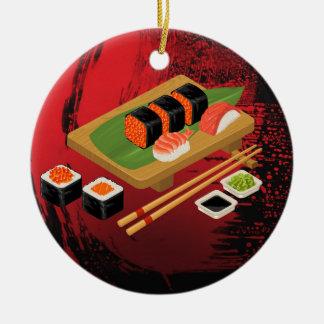 Chic Modern Elegant Black & Red Sushi Christmas Ornament