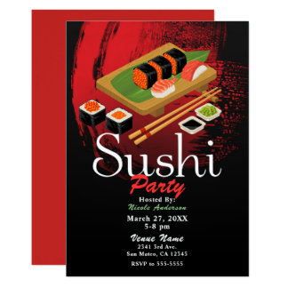 Chic Modern Elegant Black & Red Sushi Party Event Card