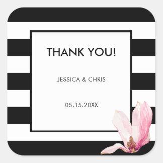 Chic Modern Elegant Black & White Stripe Magnolia Square Sticker