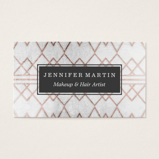 Chic Modern Faux Rose Gold Geometric Triangles Business