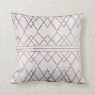 Chic Modern Faux Rose Gold Geometric Triangles Cushion