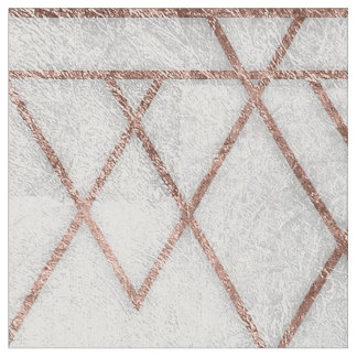 Chic Modern Faux Rose Gold Geometric Triangles Fabric