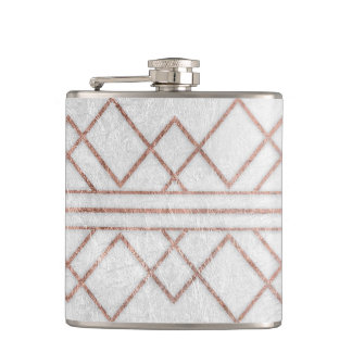 Chic Modern Faux Rose Gold Geometric Triangles Hip Flask