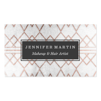 Chic Modern Faux Rose Gold Geometric Triangles Pack Of Standard Business Cards