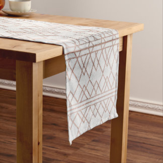 Chic Modern Faux Rose Gold Geometric Triangles Short Table Runner