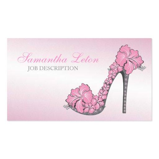 Chic Modern Floral High Heel Pump Shoe Business Card Templates
