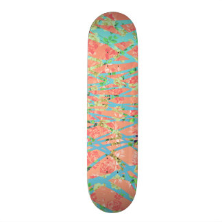 Chic Modern Floral Zebra Style Trendy Pattern Skate Boards