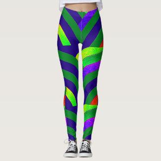 chic modern green/blue chevrons leggings