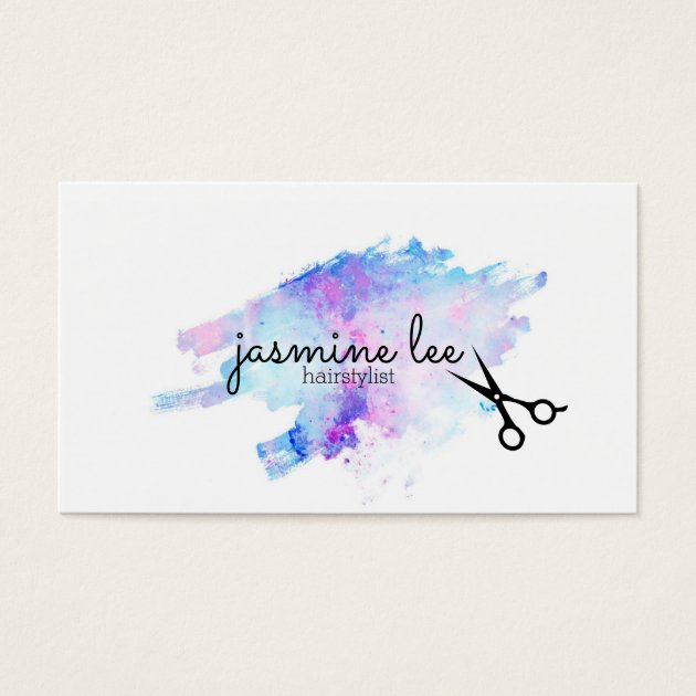 Chic modern hairstylist watercolor calligraphy business card