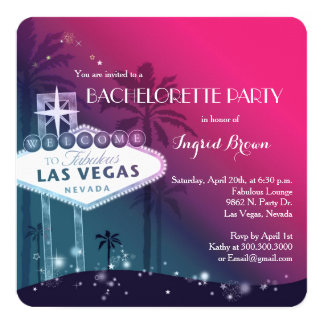 Chic, Modern Las Vegas Bachelorette Party 13 Cm X 13 Cm Square Invitation Card