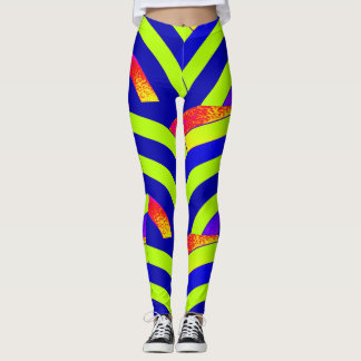 chic modern lime/navy chevrons leggings