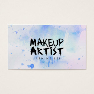 chic modern makeup artist watercolor blue grunge business card