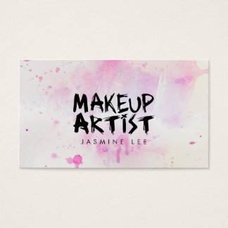 chic modern makeup artist watercolor pink grunge business card