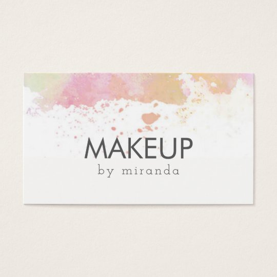 chic modern makeup artist watercolor pink simple business