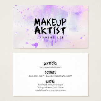 chic modern makeup artist watercolor purple grunge business card