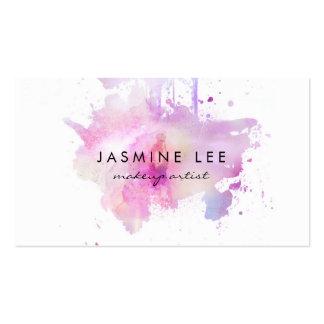 chic modern makeup artist watercolor purple grunge pack of standard business cards