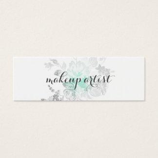 chic modern makeup artist watercolor teal flower mini business card