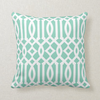 Chic Modern Mint Green and White Imperial Trellis Throw Pillow