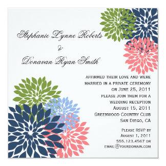 Chic Modern Navy Pink Green Flower Petals 13 Cm X 13 Cm Square Invitation Card