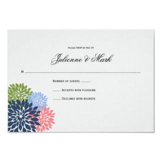 Chic Modern Navy Pink Green Flower Petals RSVP 9 Cm X 13 Cm Invitation Card