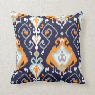Chic modern orange navy blue ikat tribal pattern cushion