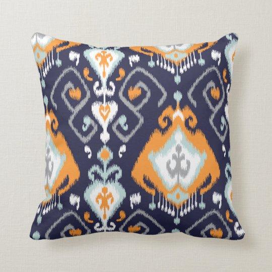 Chic modern orange navy blue ikat tribal pattern
