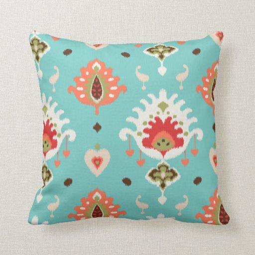 Chic modern orange turquoise ikat tribal pattern throw pillow