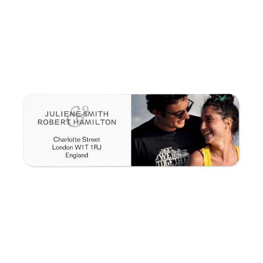 Chic Modern Photo Wedding Return Address Labels