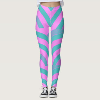 chic modern pink/green chevrons leggings