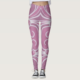 Chic Modern Pink White Graphic Design Leggings