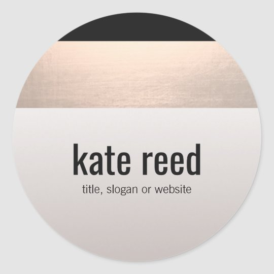 Chic Modern Rose Gold Accent Taupe Grey Classic Round Sticker