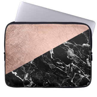 Chic modern rose gold black marble color block laptop sleeves