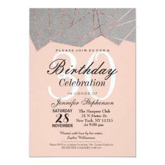 Chic Modern Rose Gold Geo Birthday Party Invites