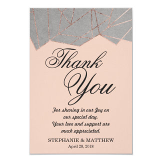 Chic Modern Rose Gold Geo Thank You Cards 9 Cm X 13 Cm Invitation Card