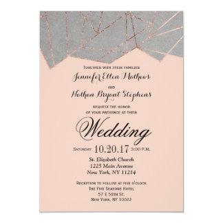 Chic Modern Rose Gold Geo Wedding Invitations