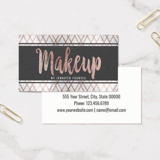 Chic Modern Rose Gold Geometric Makeup Artist Business