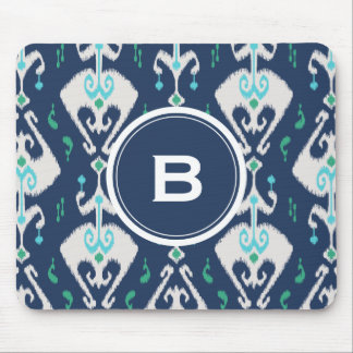 Chic modern teal navy blue ikat tribal pattern mouse pad