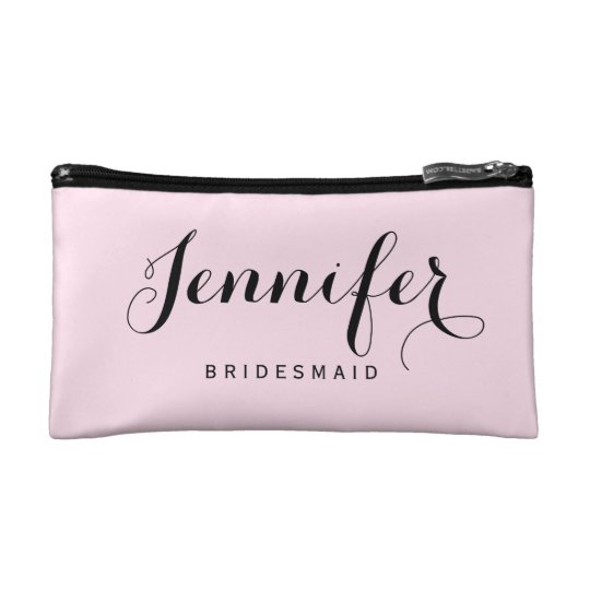Chic Modern Typography Personalised Bridesmaid Makeup Bag