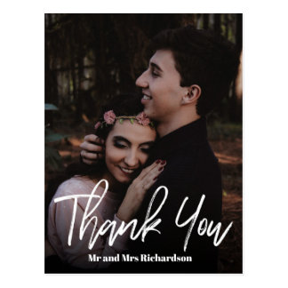 Chic  ModernHand Lettered Wedding  THANK YOU white Postcard