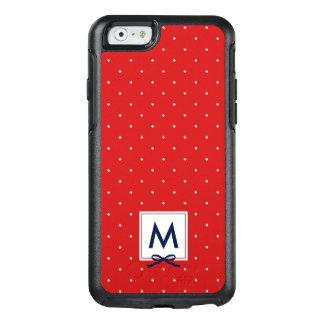 Chic Monogram Blue Ribbon Red Polka Dot Pattern OtterBox iPhone 6/6s Case