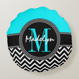 Chic Monogram Chevron - M is for Madelyn Round Cushion