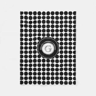 Chic Monogram Initial   Modern Black White Dots Fleece Blanket