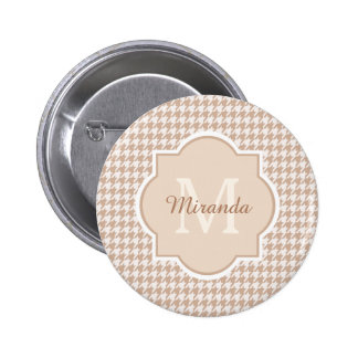 Chic Monogram Light Brown Houndstooth With Name 6 Cm Round Badge