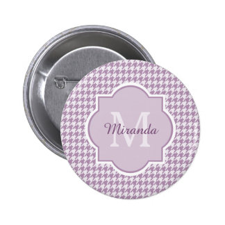 Chic Monogram Light Purple Houndstooth With Name 6 Cm Round Badge