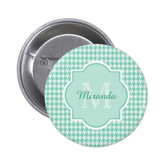 Chic Monogram Mint Green Houndstooth With Name 6 Cm Round Badge