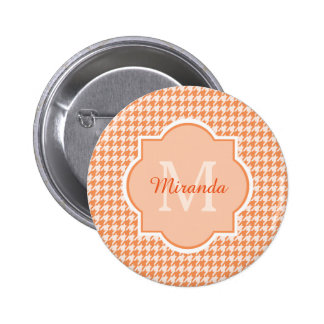 Chic Monogram Orange Houndstooth With Name 6 Cm Round Badge