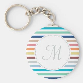Chic Monogram Pastel Rainbow Horizontal Stripes Basic Round Button Key Ring