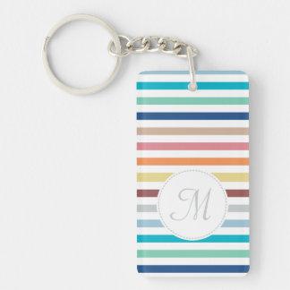 Chic Monogram Pastel Rainbow Horizontal Stripes Double-Sided Rectangular Acrylic Key Ring